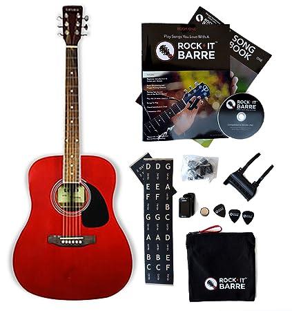 Amazon.com: Acoustic Guitar W/Rock-iT Barre Starter Kit, Tanara ...