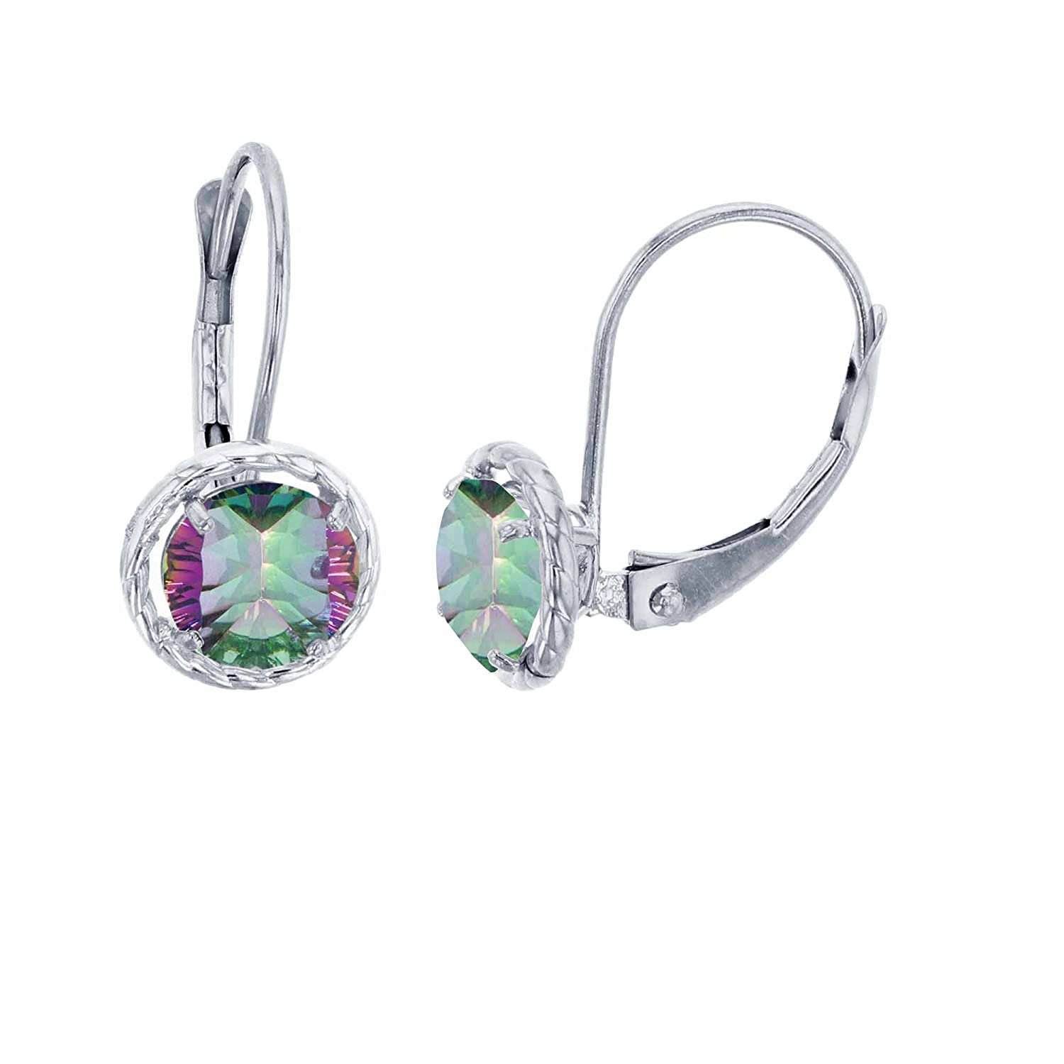 Genuine Gemstone Birthstone Gold Earrings For Women White and Rose Gold 1.25mm Round Created White Sapphire /& 6x4mm Gemstone Bead Frame Drop Leverback Earrings Solid 14K Yellow