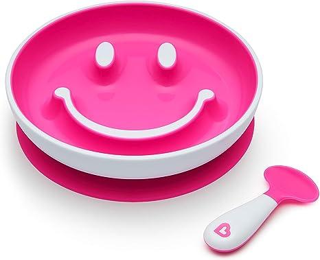 Munchkin Smile n Scoop - Juego de plato y cuchara de entrenamiento con ventosa, color azul rosa rosa Talla:1 Pack: Amazon.es: Bebé