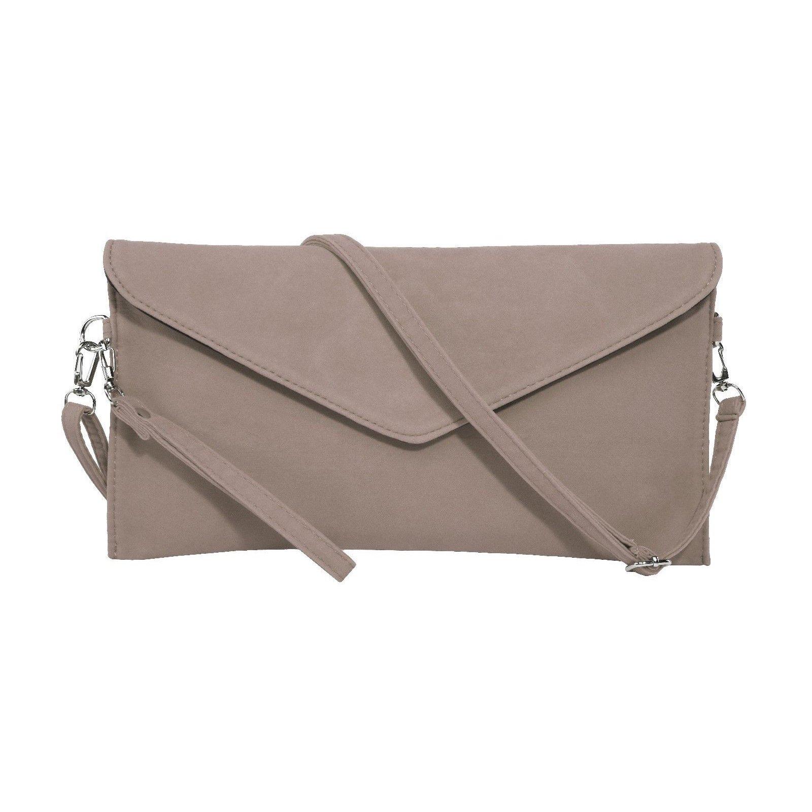 Jieway Women's Faux Suede Evening Clutch Bag Crossbody Bag Shoulder Handbags (Khaki)