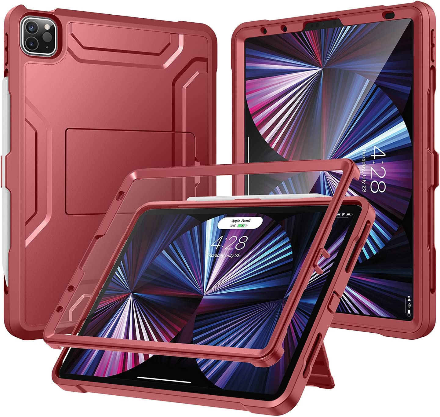 Soke Case for iPad Pro 11 2021 with Built-in Screen Protector - Support 2nd Apple Pencil Charging - Heavy Duty Rugged Protective Kickstand Case for iPad Pro 11 Inch 3rd Generation - Rose Red