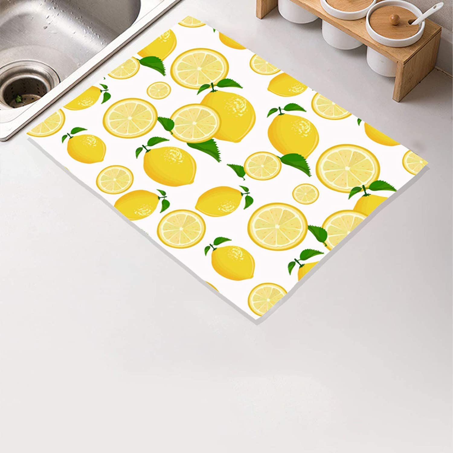 Lemon Yellow Dish Drying Mat Lemon Slices Lime Fruits Kitchen Counter Drying Mat Absorbent Microfiber Dish Drying Rack Pad Reversible Dish Drainer Mats Washable Heat-resistant 16x12 inch