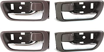 Interior Door Handle Compatible with Toyota Camry 2002-2006 Front and Rear Door Handle Right Side and Left Side Set of 4 Inside Brown Bezel With Chrome Lever Japan//Usa Built