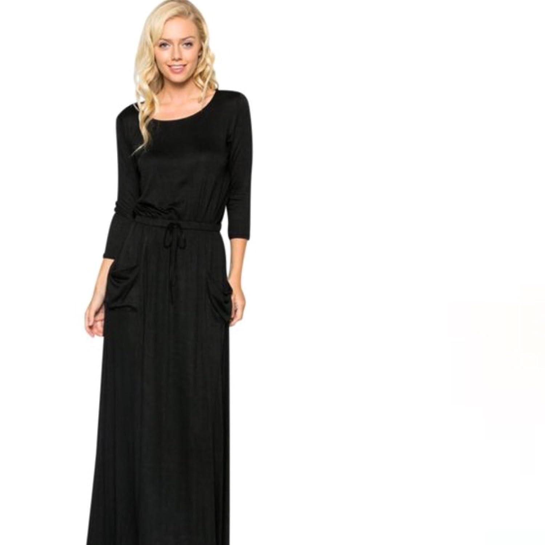 e74d30cbe37 Women s 3 4 Long Sleeve Plain Casual Maxi Dress Pockets Cinch Waist Kaftan  Black at Amazon Women s Clothing store
