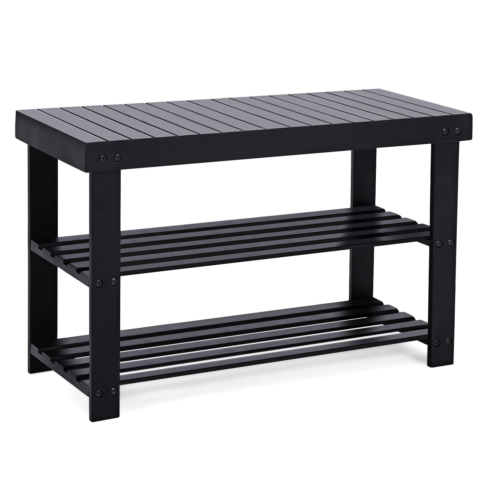 SONGMICS Black Shoe Rack Bench, 3-Tier Bamboo Shoe Organizer, Storage Shelf, Holds Up to 264 Lb, Ideal for Entryway Hallway Bathroom Living Room and Corridor ULBS04H by SONGMICS