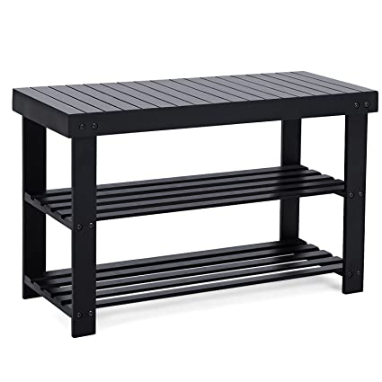 Amazoncom Songmics Black Shoe Rack Bench 3 Tier Bamboo Shoe