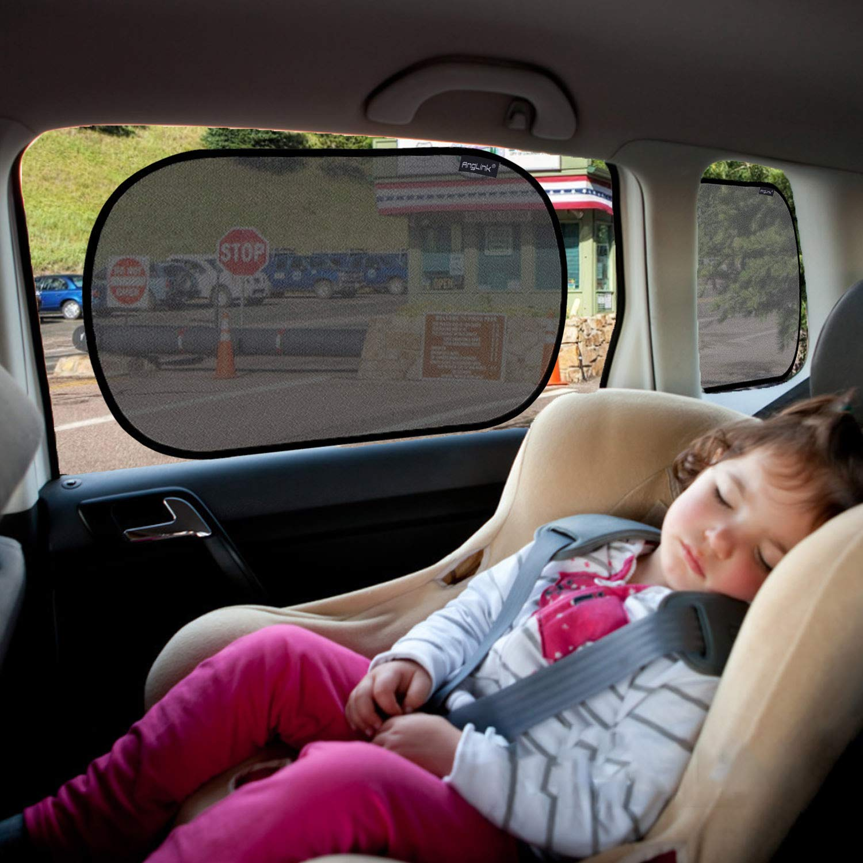 AngLink 2 Pezzi Tendine Parasole per Auto 50 x 32 cm Universale Senza Ventose Applicazione Aggancio Statico Protezione da Raggi UV e Calore Tendine Per Finestrino Bimbi