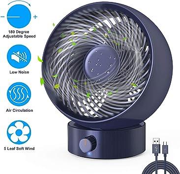 Ventilador USB, Gifort Ventilador de Mesa Mini Ventilador USB Silencioso, con Velocidad Ajustable de 180 Grados, para Coche, Oficina, Hogar, Viajes, Camping, USB ...