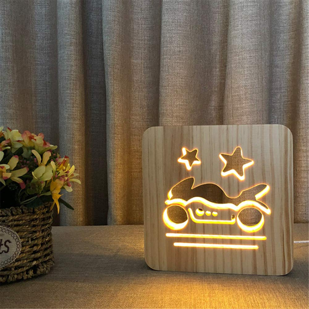 Night Light Kid Led Wooden Button Type 3D Wood Table Lamp USB Warm White, Motorcycle
