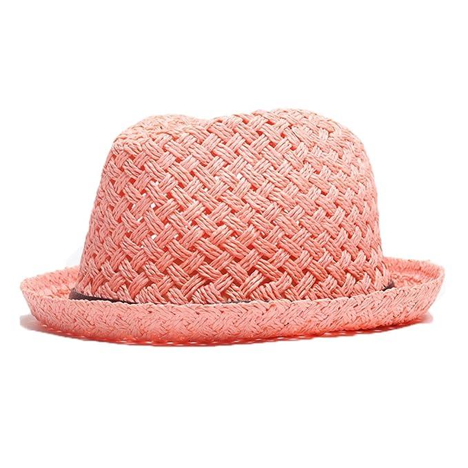 Cappello Borsalino per la Primavera Estate Ragazzi Fedora Tinta Unita  Traspirante Paglia Cappelli Solare-Rosa  Amazon.it  Abbigliamento 259ede289e5c