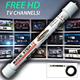 Magic Stick TV - Digital TV Antenna Reception Signal Booster with 20ft Cable, Easy to Install, Up to 80 Mile Range
