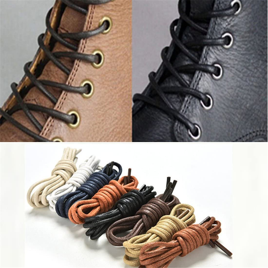 Black Round Leather Shoelaces Thick