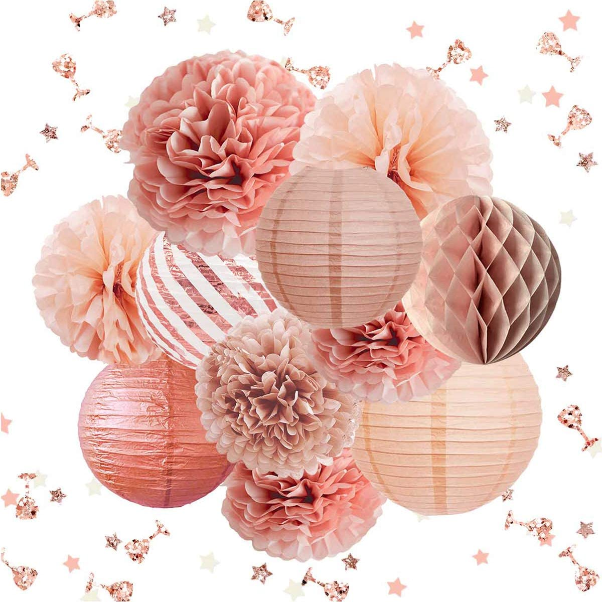 NICROLANDEE Rose Gold Party Decorations -12PCS Elegant Party Supplies Tissue Pom Poms Paper Lantern Glitter Confetti 30G for Valentine's Day Wedding Bridal Shower Baby Shower Bachelorette
