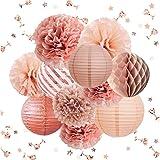 NICROLANDEE Rose Gold Party Decorations -12PCS Elegant Party Supplies Tissue Pom Poms Paper Lantern Glitter Confetti 30G for Valentine's Day Wedding Bridal Shower Baby Shower Bachelorette