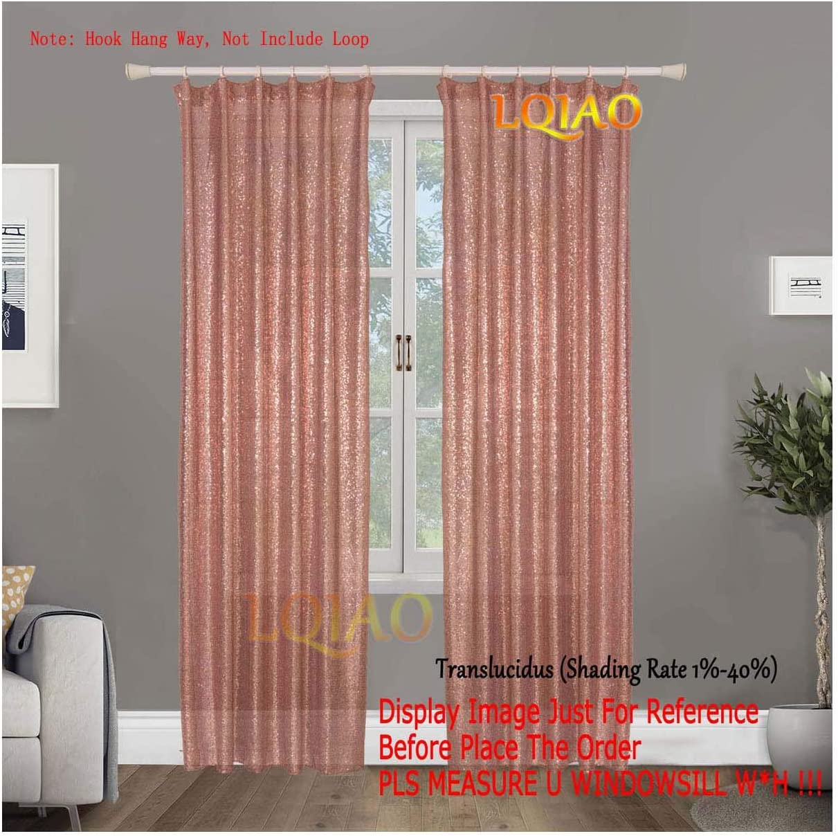 2PCS Rose Gold Sequin Curtain Backdrop-W60xL250cm Shimmer Sequin Fabric Photography Backdrop Luxury Curtains for Bedroom Window Curtains Living Room Elegant Drapes Curtains