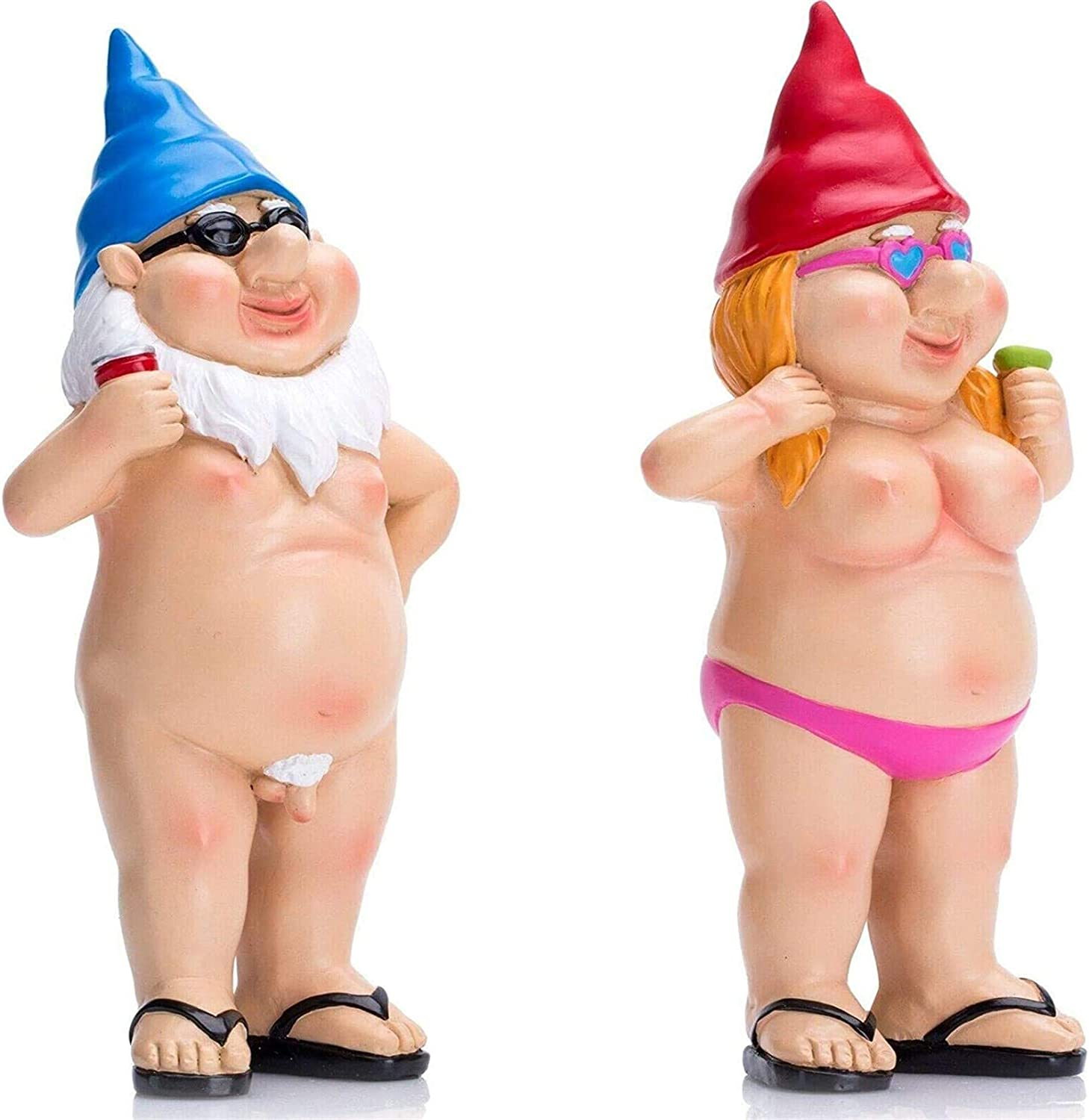 znvwki 2pcs Naked Gnome Statue, Gnomes Garden Decorations Funny, Take Wine Glass and Wear Sunglasses Naked Shape, Resin Figurine Model, Fun and Vibrant, for Christmas Ornaments