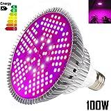 Iluminación para plantas 100W E27 Bombillas de luz 150 Leds Grow Lamp de interior Jardín de efecto invernadero y plantas hidropónicas Full Spectrum [1 Pack]