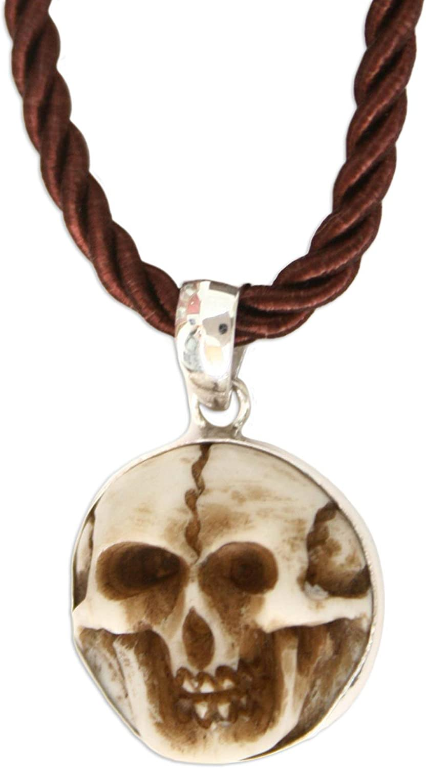 Amazon Com Novica Artisan Hand Carved Skull Pendant Necklace On Silk Cord Aged Immortal Smile 17 Pendant Necklaces Jewelry