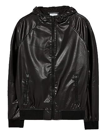 Zara Men Faux Leather Jacket With Hood 8281 453 Black At Amazon