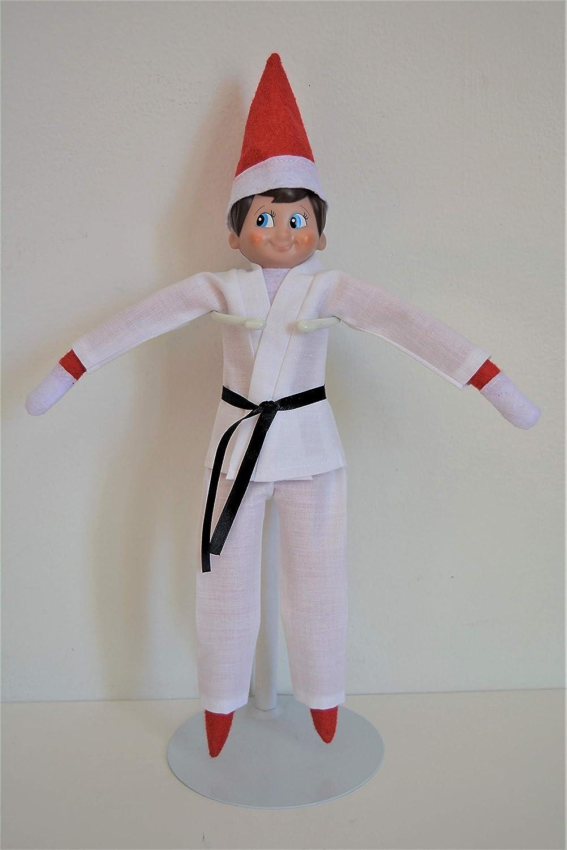 Handmade Doll Clothes Karate Uniform with 9 Ribbon Belts Gi Judo TKD fit 11.5 The Elf Soft Doll Christmas