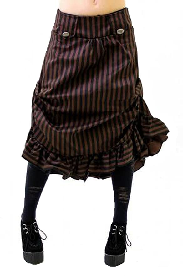 Steampunk Plus Size Clothing Altissimo Womens Steampunk Vintage Tucked Ruffle Hem Stripe Skirt. Sizes 6 - 16 $49.00 AT vintagedancer.com