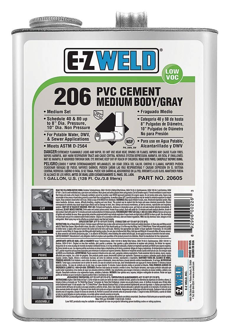 Ez Weld Pipe Cement, Gray, 128 oz., for PVC Pipes and Fittings - 20605