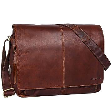fe102b2b5204e0 STILORD 'Alex' Vintage Ledertasche Männer Frauen Businesstasche zum  Umhängen 15,6 Zoll Laptoptasche