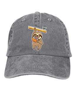 2c9a4800 NVJUI JUFOPL Adult Denim Baseball Cap Sloth Loves Sushi Ash