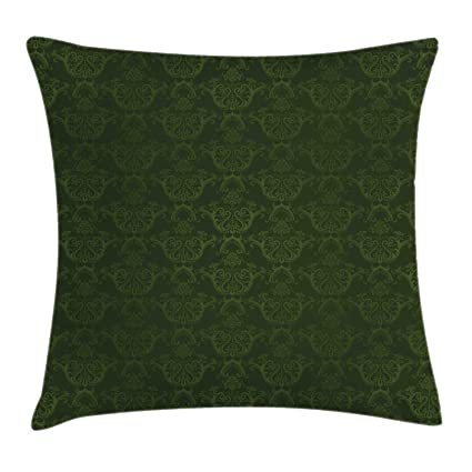 Lunarable Hunter Green Throw Pillow Cushion Cover, Victorian Damask Rococo  Renaissance Swirled Classic Floral Petals Pattern, Decorative Square Accent  ...