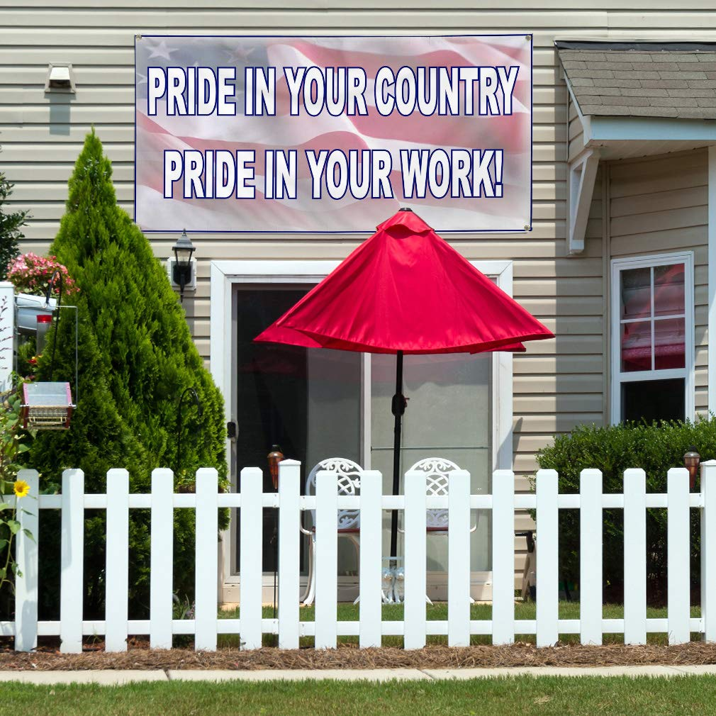 Set of 3 Vinyl Banner Sign Pride in Your Country White Red Lifestyle Marketing Advertising White Multiple Sizes Available 4 Grommets 24inx60in