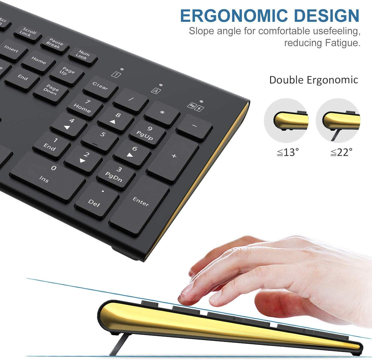 Golden field Wireless Keyboard and Mouse,Dual System Switching Double Ergonomic Full-Size USB Whisper-Quiet Compatible with PC Desktop Computer macOS Windows Black