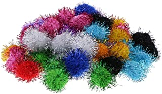 50pcs 3.5cm Glitter Tinsel Pompom POM POMS Balls Cats Kittens Toys DIY Craft