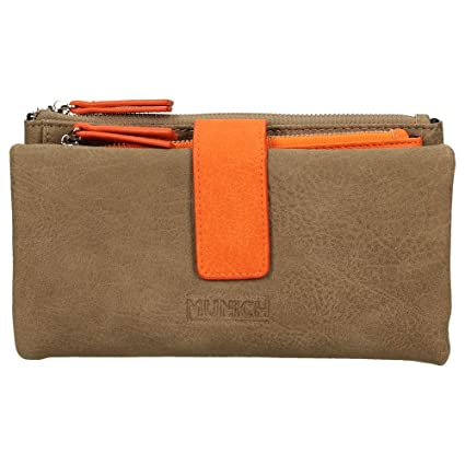 Cartera - Billetero Munich Taupe y Naranja (19 cm): Amazon ...