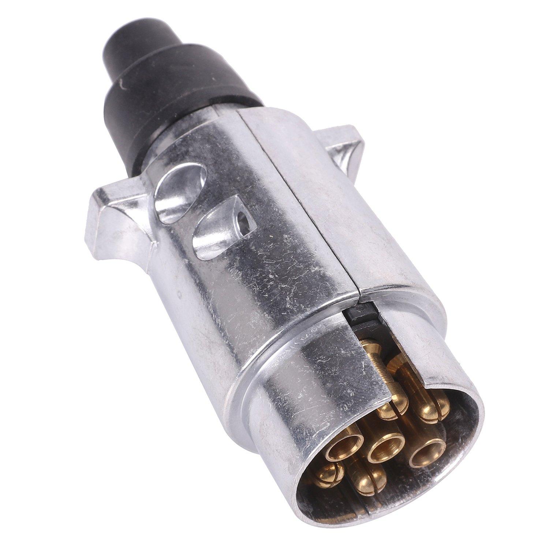 Fajerminart 7 Pin RV Metal Wiring Connector Towbar Remolque - N Tipo Caravan Socket 7 Way Truck Adapter 12V Metal Shell Remolque Enchufe Yiwu Decor Art Co Ltd