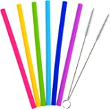 Outus 6 Pieces Reusable Drinking Straws Silicone Straight Drinking Straw with 2 Pieces Cleaning Brush for YETI/ RTIC Rambler Tumbler 30 Ounce/ 20 Ounce