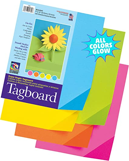 Pacon PAC101161 Premium Tagboard Assortment Hyper Colors 50 Sheets 65 lb