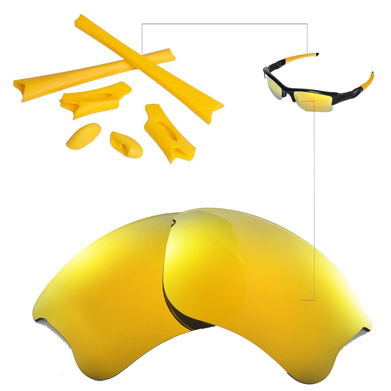 90be1dadeb Walleva 24K Gold Polarized Lenses And Yellow Rubber Kit For Oakley Flak  Jacket XLJ  Amazon.co.uk  Clothing