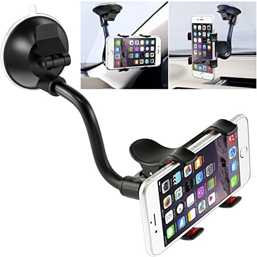 Amazon Com Car Phone Mount Windshield Long Arm Clamp Ivoler Universal Windshield With Double Clip Strong Suction Cup Cell Phone Holder Compatible Iphone 12 11 Pro Xs Max X 7 8 6 Plus