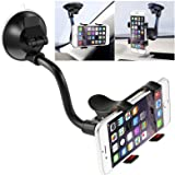 Car Phone Mount Windshield, Long Arm Clamp iVoler Universal Windshield with Double Clip Strong Suction Cup Cell Phone…