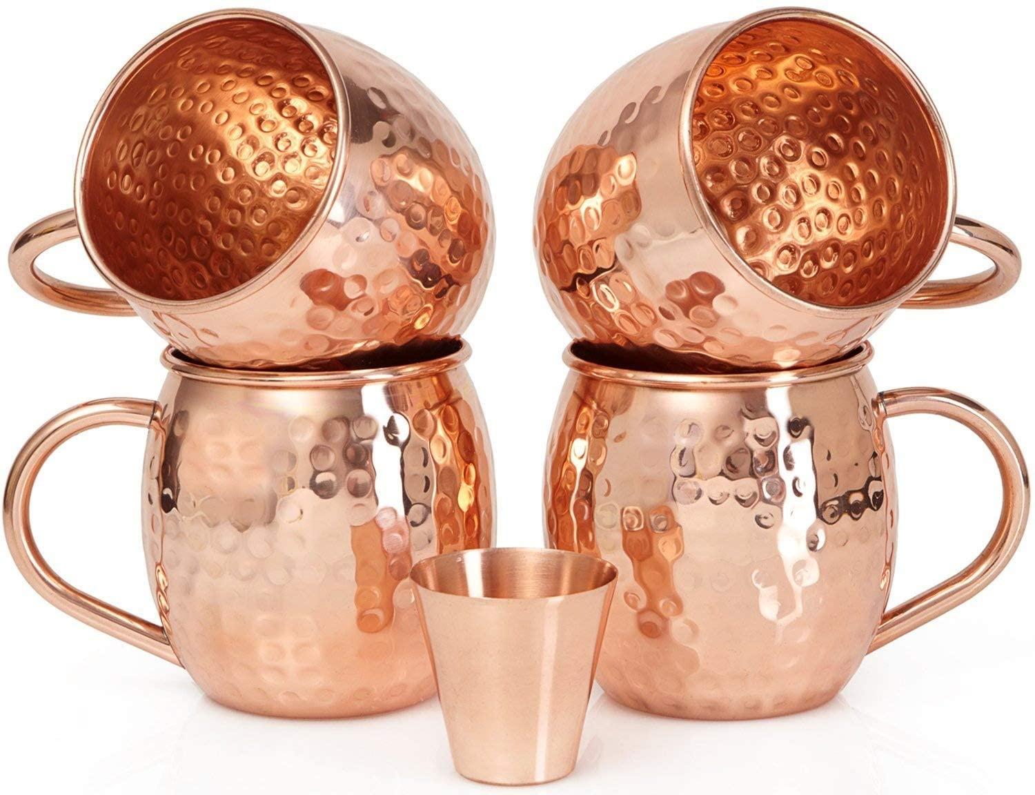 Set of 4 Moscow Mule Copper Mugs with Copper Shot Glass - 4 16oz Copper Moscow Mule Mugs - Solid Copper Hammered Mug - Copper Cups for Moscow Mules