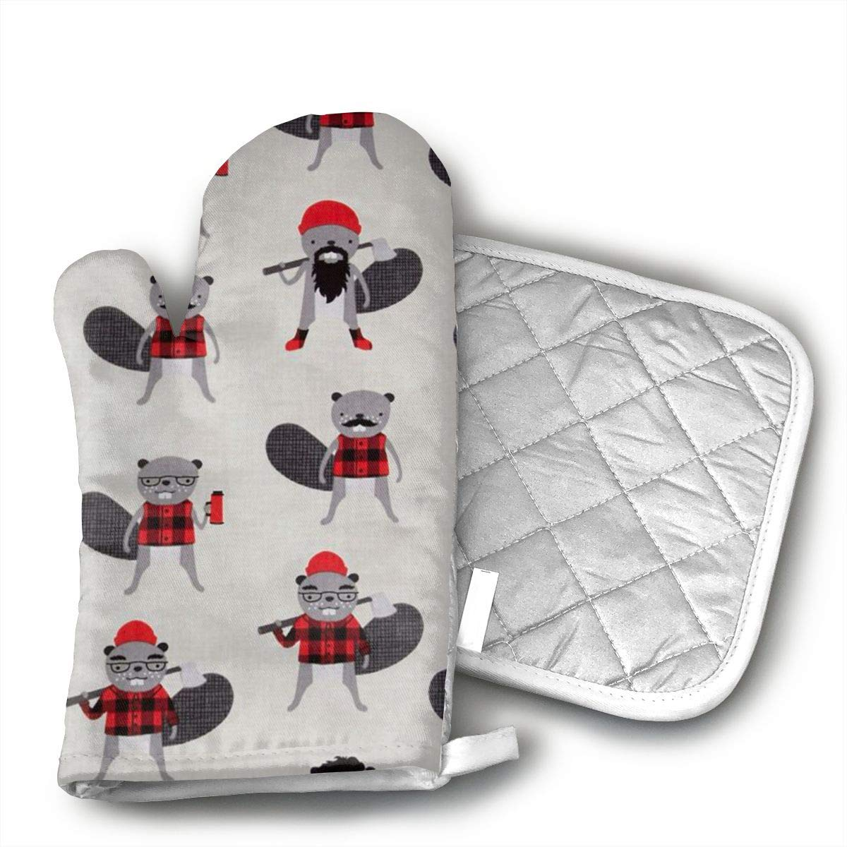 Ubnz17X Burly Beavers Oven Mitts and Pot Holders for Kitchen Set with Cotton Non-Slip Grip,Heat Resistant