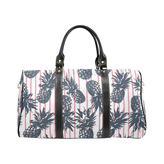 Red Stripe Pineapple Large Travel Duffel Bag Waterproof Weekend Bag with  Strap d34a9d92913