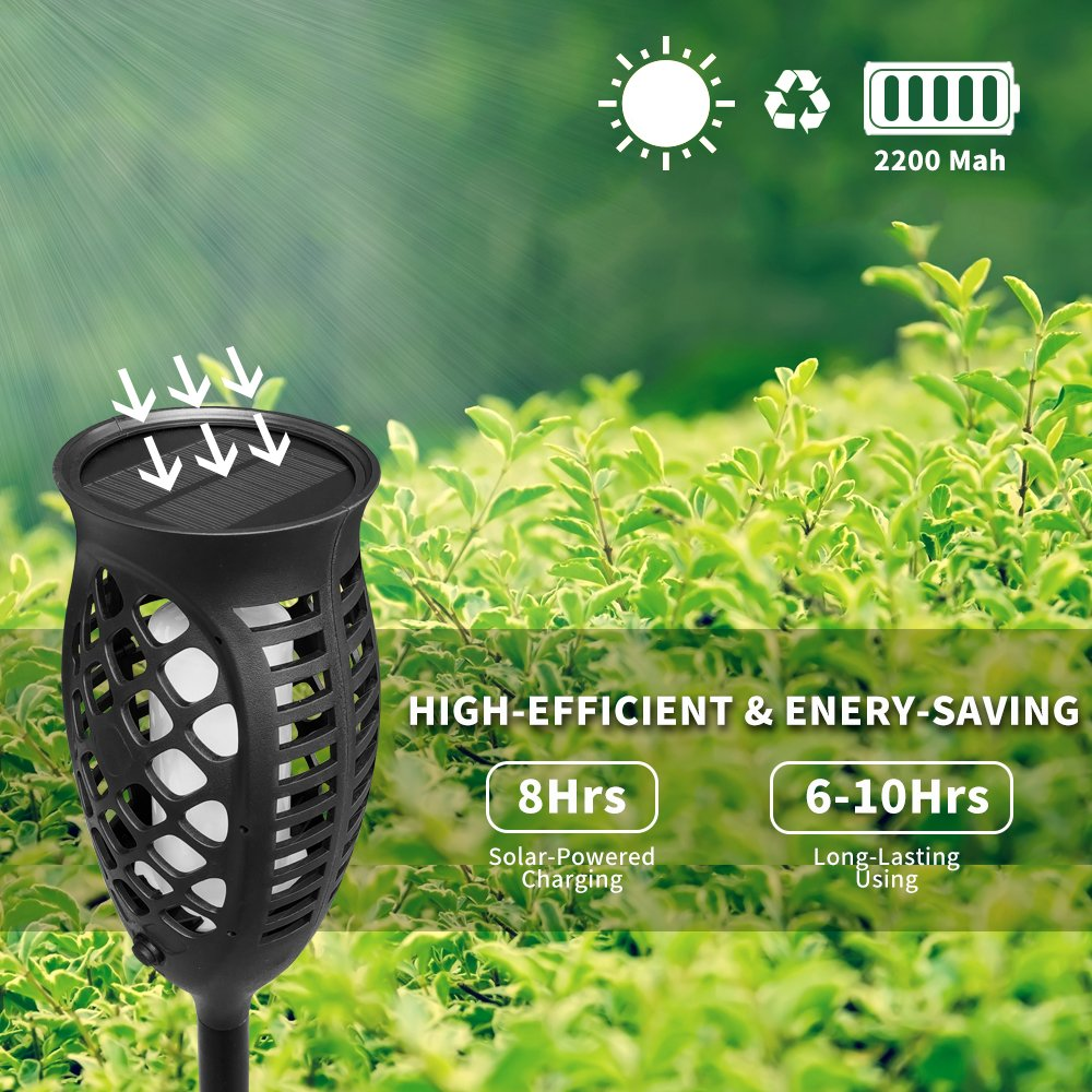 Petrala Solar Lights Outdoor Torch Light 3 Modes Dancing Flames Waterproof Dusk to Dawn Auto On Off Warm Path Lighting for Patio Garden Path Driveway, 4 Pack by Petrala (Image #6)