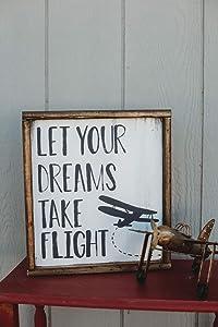 EricauBird Wall Art Let Your Dreams Take Flight Sign, Airplane Nursery, Boys Nursery Decor, Boys Bedroom Decor, Playroom Decor, Airplane Decor, Aviation Nursery Wood Plaque