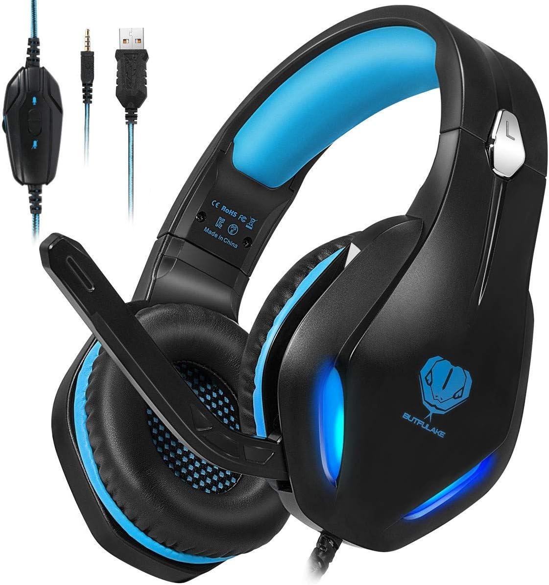 Stynice Cascos Gaming con Microfono Compatible con PS4 / PC/Xbox One/Nintendo Switch/Laptop/Mac/Mobile - Auriculares para estéreo Juegos con Cable Jack de 3.5 mm y luz LED (Azul)