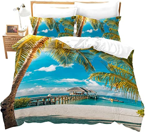 Amazon Com Loussiesd Sandy Beach Duvet Cover Set Coastline Coconut Tree Print Quilt Cover Set Blue Sky And Sunny Beach Bedding Set With Zipper Closure And Corner Ties Twin Home Kitchen