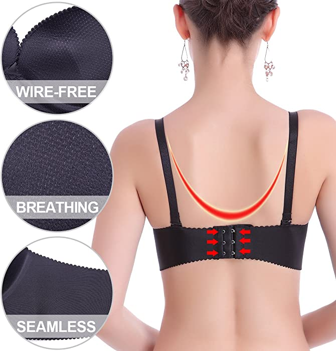 25e74852ee2f2 ... AooToo Bras Wirefree Padded Seamless Push Up Comfort Petite Womens  Girls 30-38A B C ...