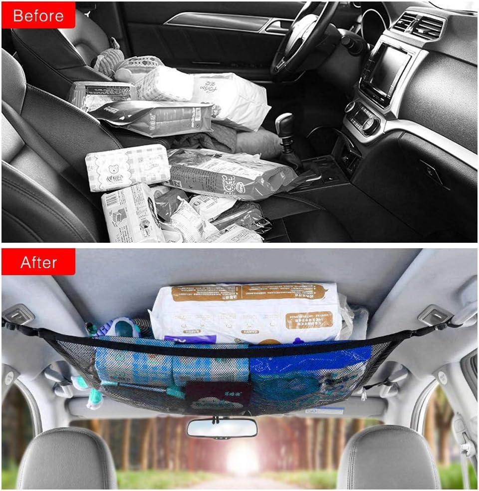 Dreamtop Car Ceiling Net Pocket Interior Overhead Top Bag Hanging Car Roof Interior Cargo Net Sundries Storage Organizer Car Net with Zipper