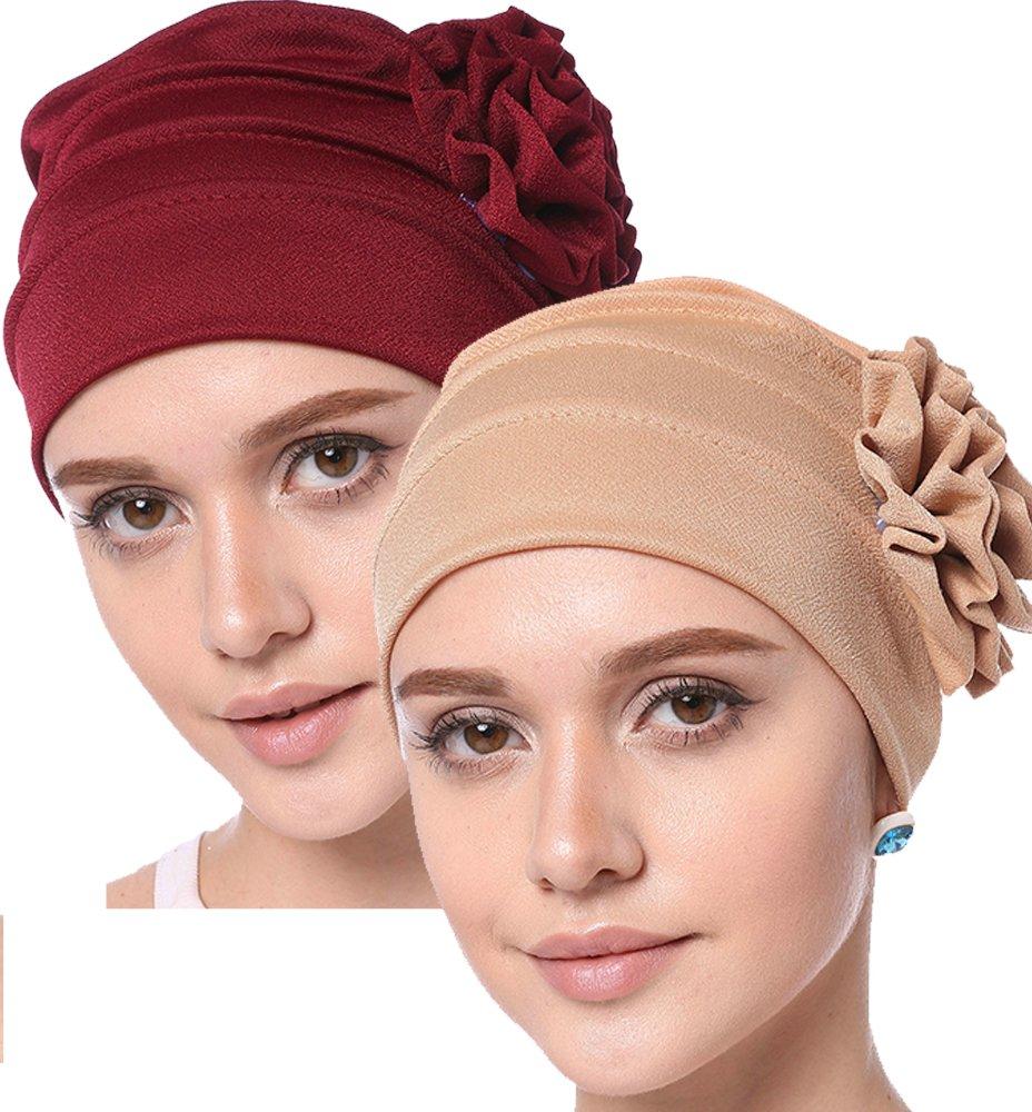 YI HENG MEI Women's Elegant Strench Side Flower Pleated Muslim Turban Chemo Cancer Cap (Burgundy+Khaki)
