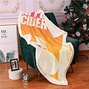 """Apple Cider Plush Blanket 40""""X50"""",Grunge Vintage Ombre Effect with Fruit and Bottle Light Thermal Blanket,car Blanket(Eggshell Hot Pink Burnt Sienna Orange)"""
